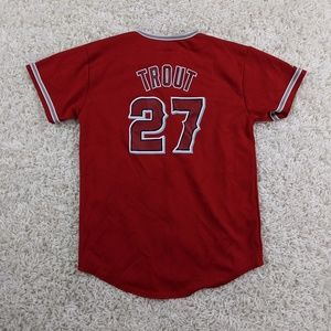 Majestic Mike Trout Jersey Youth Large Red A08